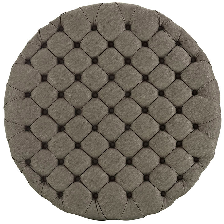 round tufted fabric ottoman taupe 3