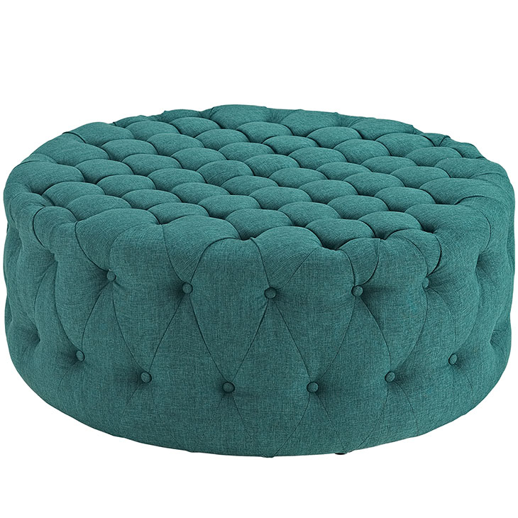 round tufted fabric ottoman turquoise 1