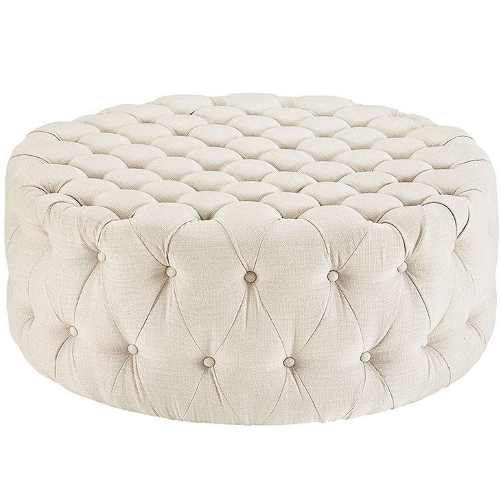 round tufted fabric ottoman white 1