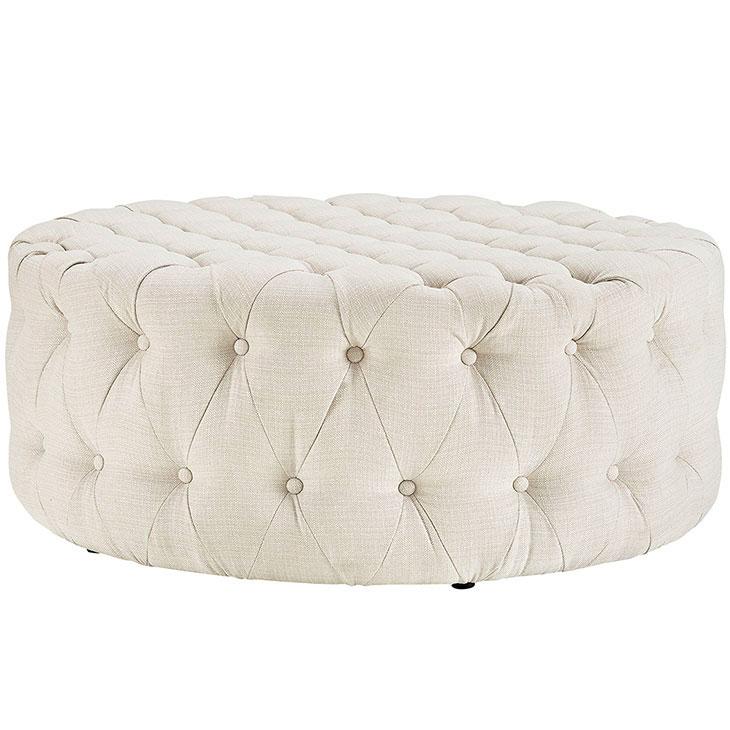 round tufted fabric ottoman white 2