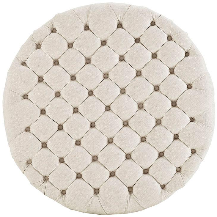 round tufted fabric ottoman white 3