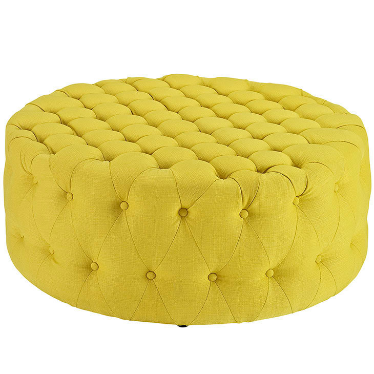 round tufted fabric ottoman yellow 1