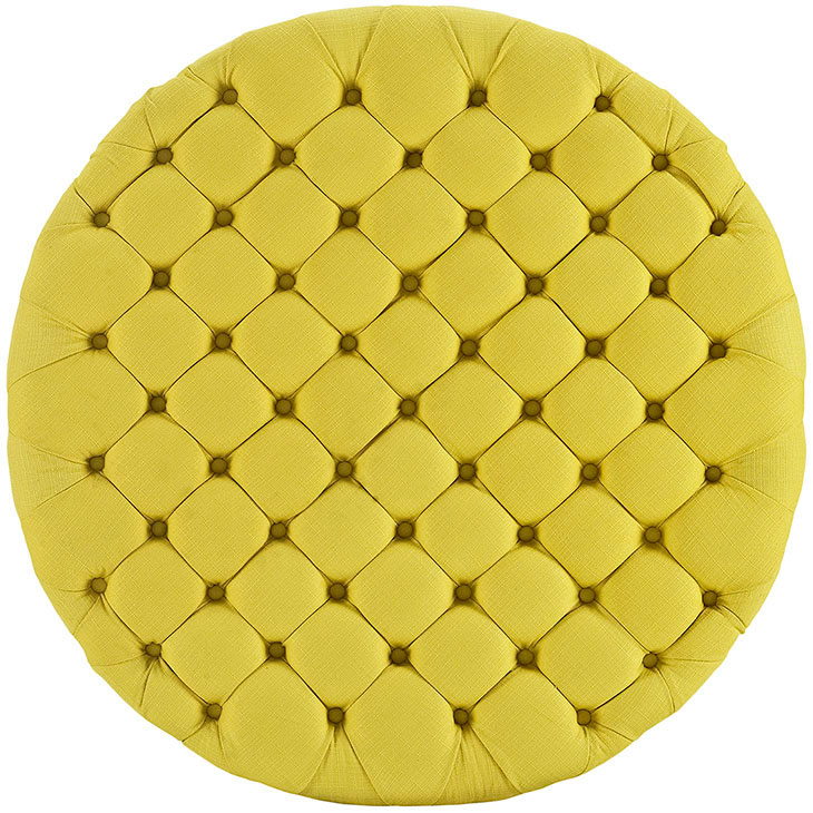round tufted fabric ottoman yellow 3