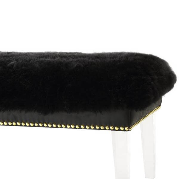 sheepskin puff bench black 3