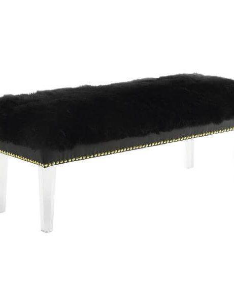 sheepskin puff bench black 461x600