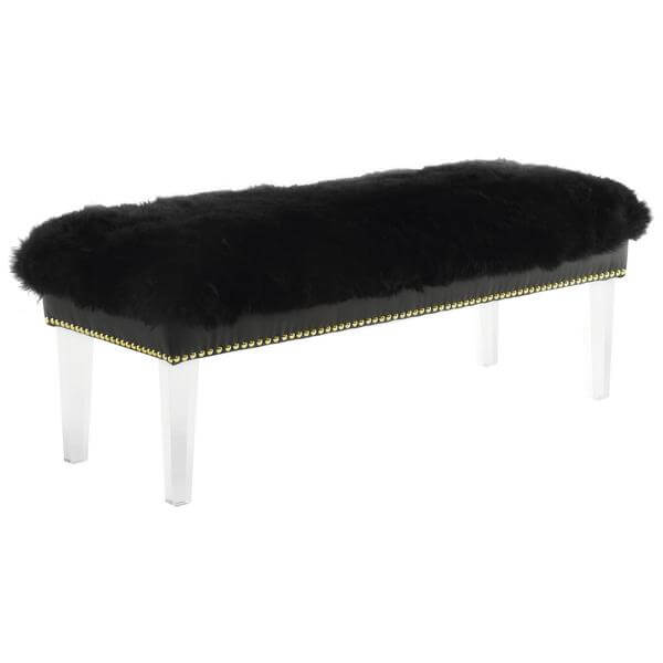 sheepskin puff bench black