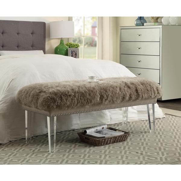 sheepskin puff bench taupe 3