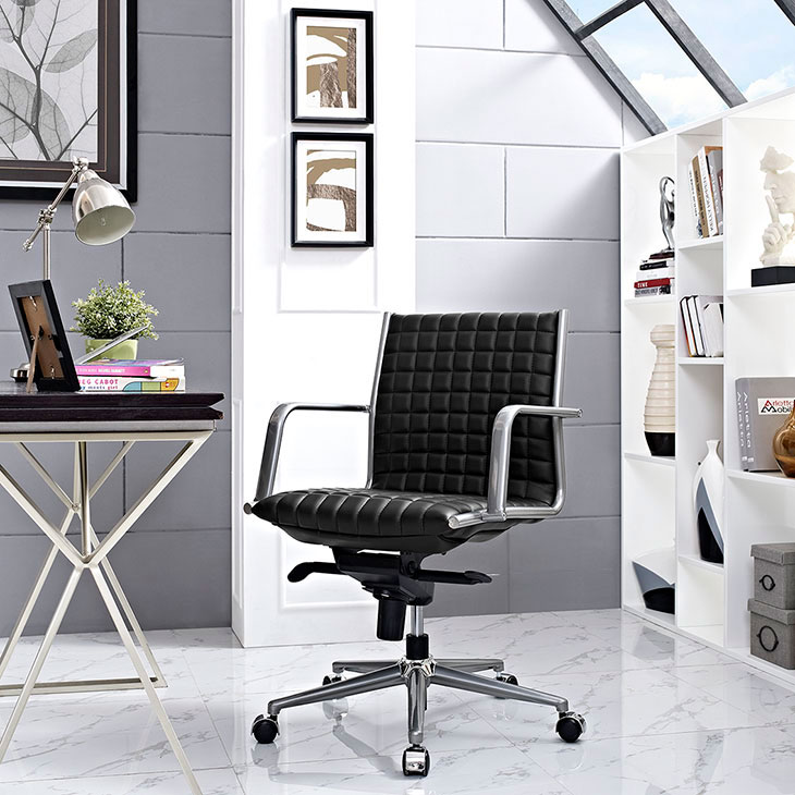 stock mid back office chair black 4