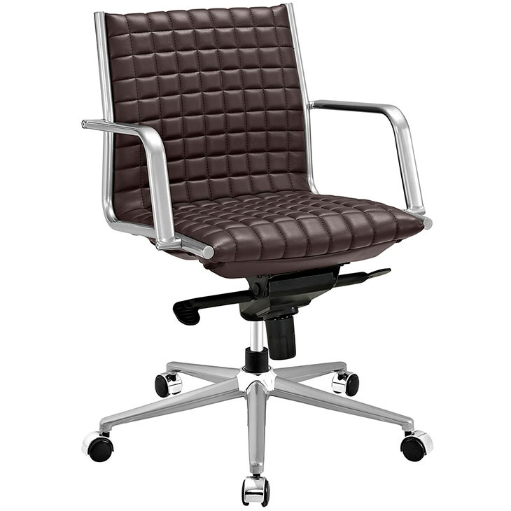 stock mid back office chair brown 1