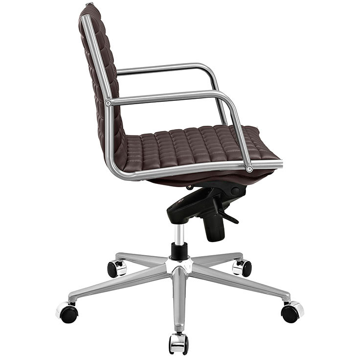 stock mid back office chair brown 2