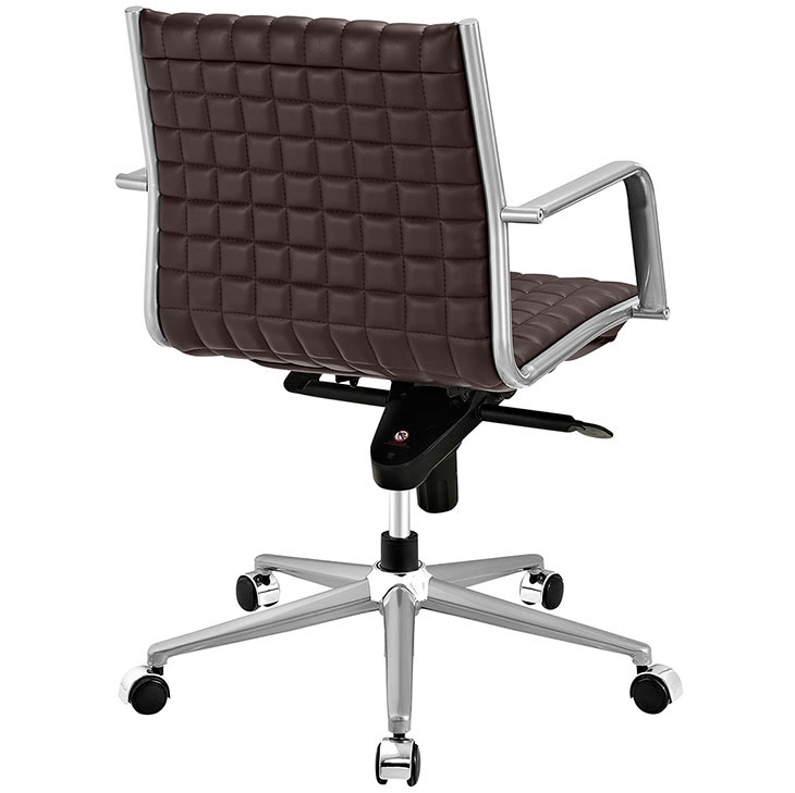 stock mid back office chair brown 3
