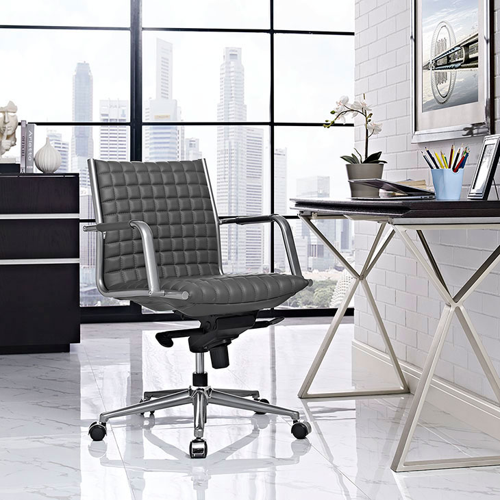 stock mid back office chair gray 4