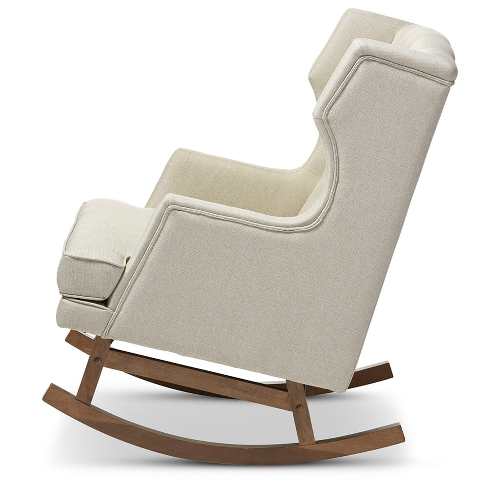 tufted wingback rocking chair beige 2