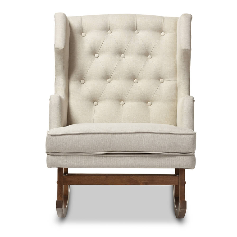 tufted wingback rocking chair beige 4