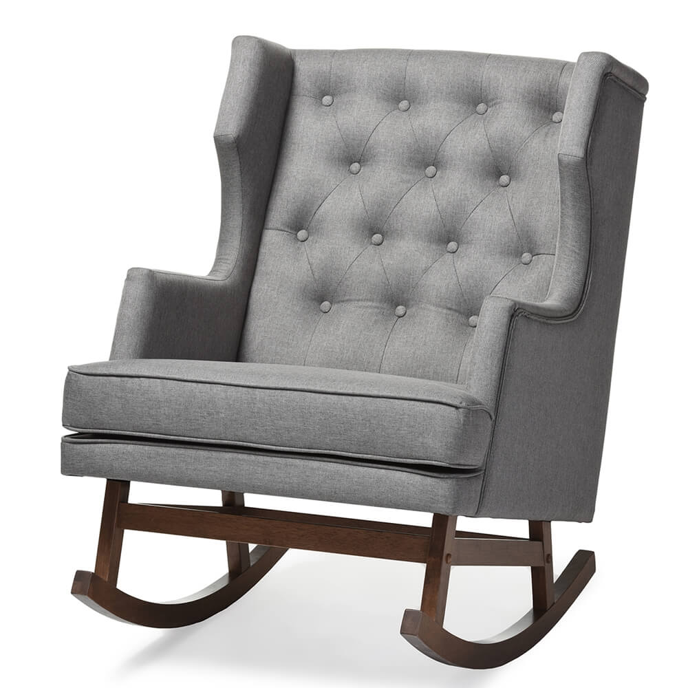 tufted wingback rocking chair gray 2