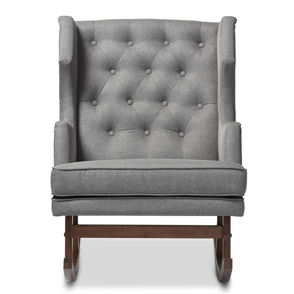 tufted wingback rocking chair gray