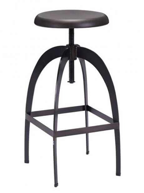 black metal spin barstool
