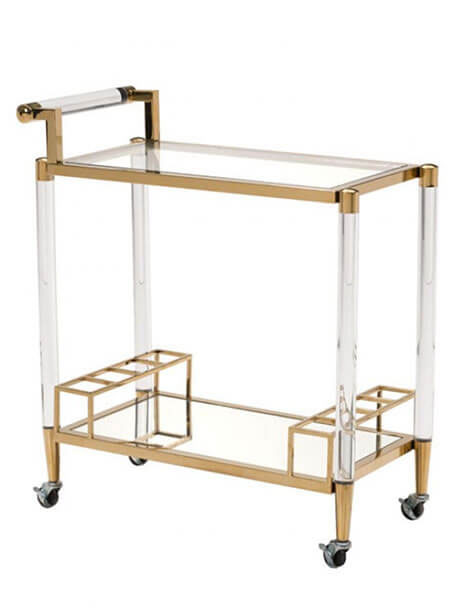clear acrylic gold bar cart
