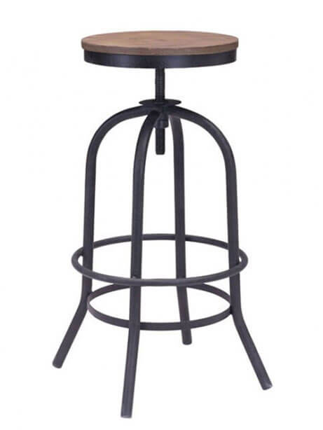 industrial wood swivel barstool