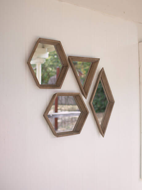Geo Wood Mirror Set 1