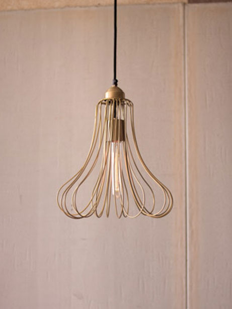 Gold wire flora dome pendant light