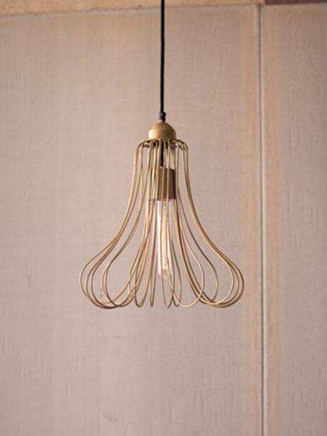 Gold wire flora dome pendant light