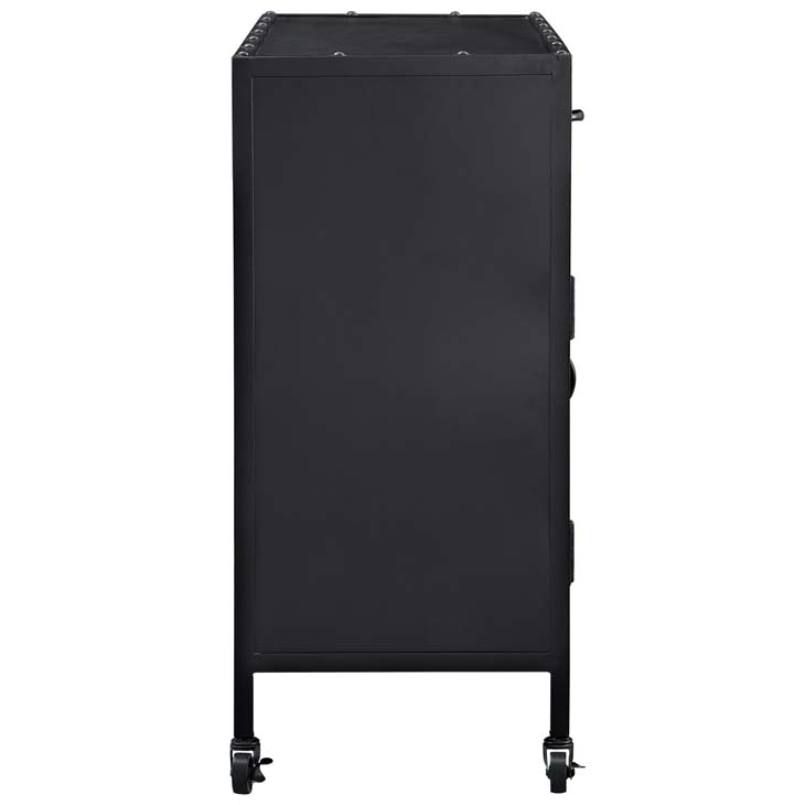 Black metal rolling cabinet 1