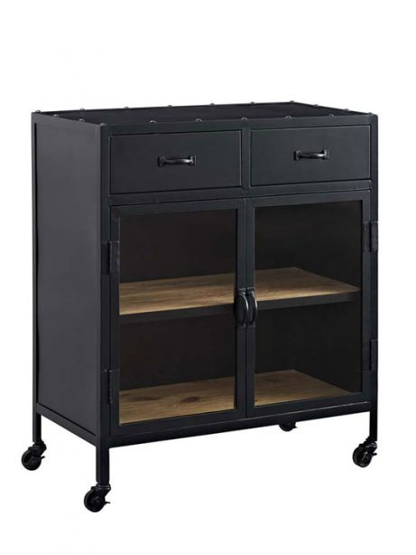 Black metal rolling cabinet 461x614