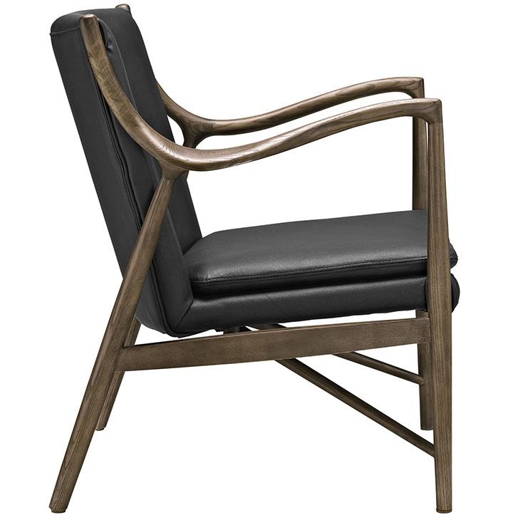 Horn Wood Leather Armchair black 1