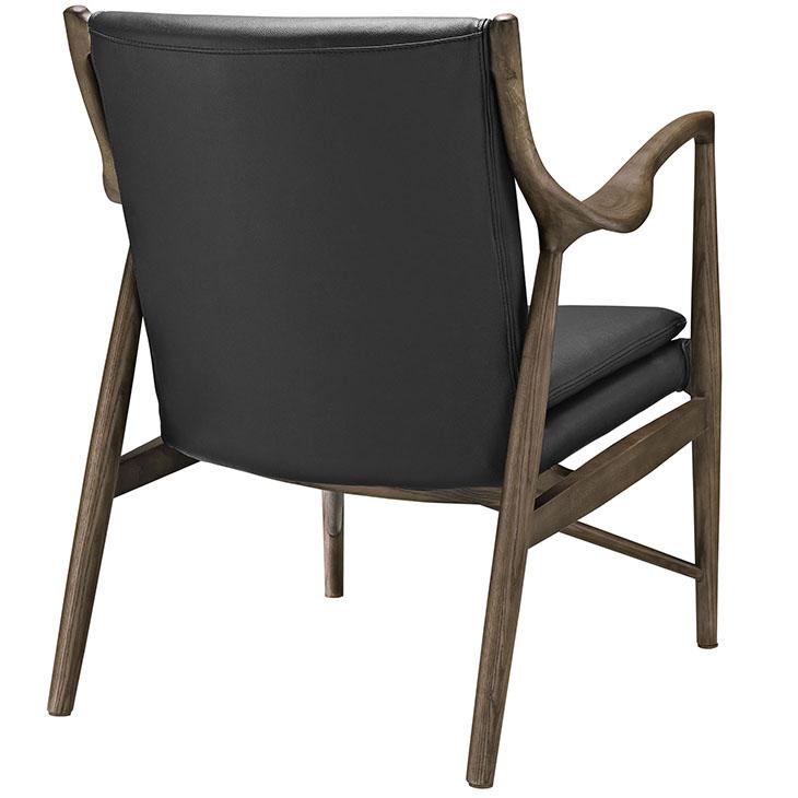 Horn Wood Leather Armchair black 2