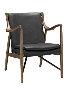 Horn Wood Leather Armchair black 237x315