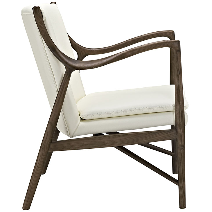 Horn Wood Leather Armchair white 2