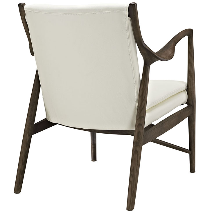Horn Wood Leather Armchair white 3