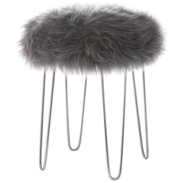 Sheepskin puff stool grey