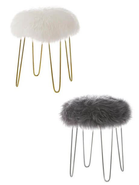 Sheepskin puff stool