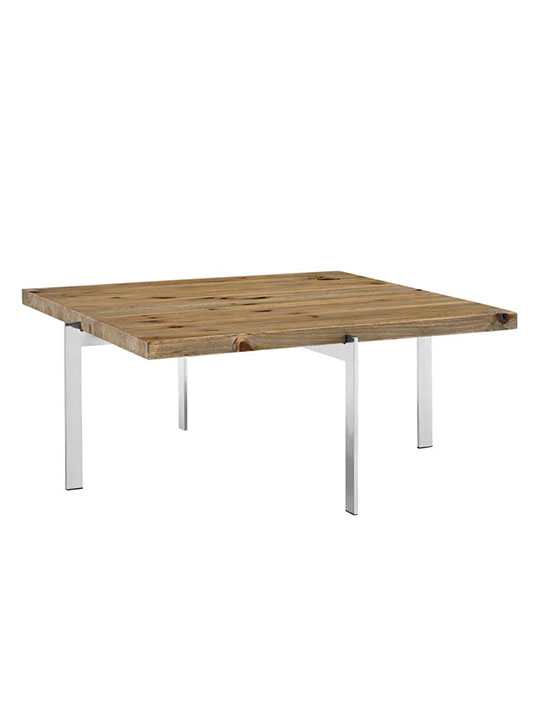 Vail Natural Wood Chrome Coffee Table