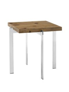 Vail Natural Wood Chrome Side Table 237x315