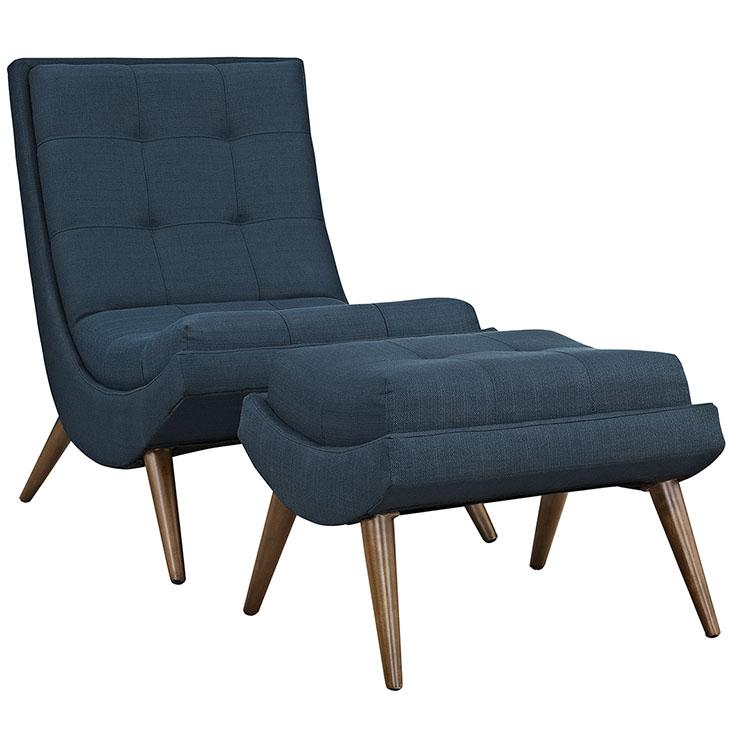 Wave Lounge Chair Ottoman Set blue 1