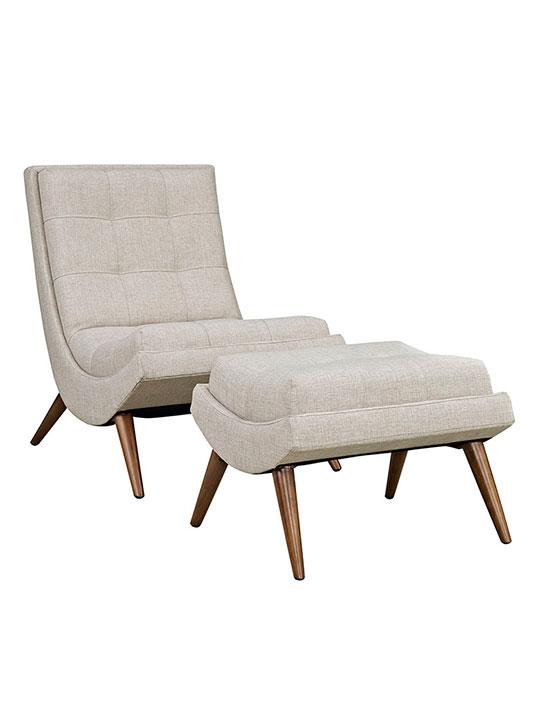 Wave Lounge Chair Ottoman Set cream 1