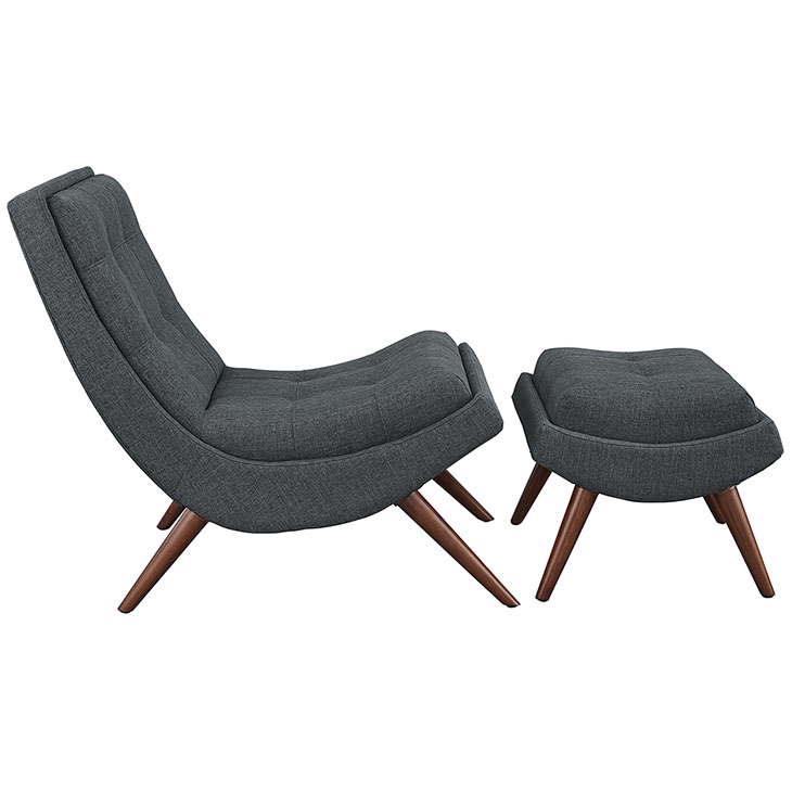 Wave Lounge Chair Ottoman Set dark gray 2