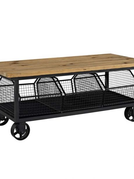 Wood Black Wire Rolling coffee table 1 461x614