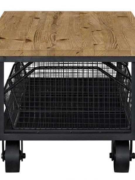 Wood Black Wire Rolling coffee table 2 461x614