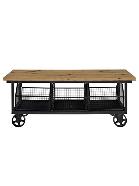 Wood Black Wire Rolling coffee table
