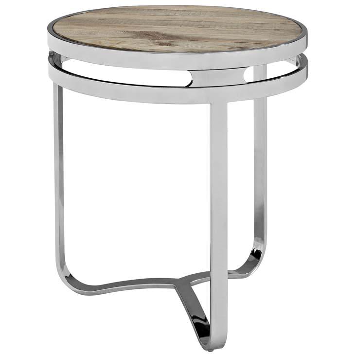 Wood chome circular side table 1