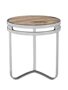 Wood chome circular side table 237x315