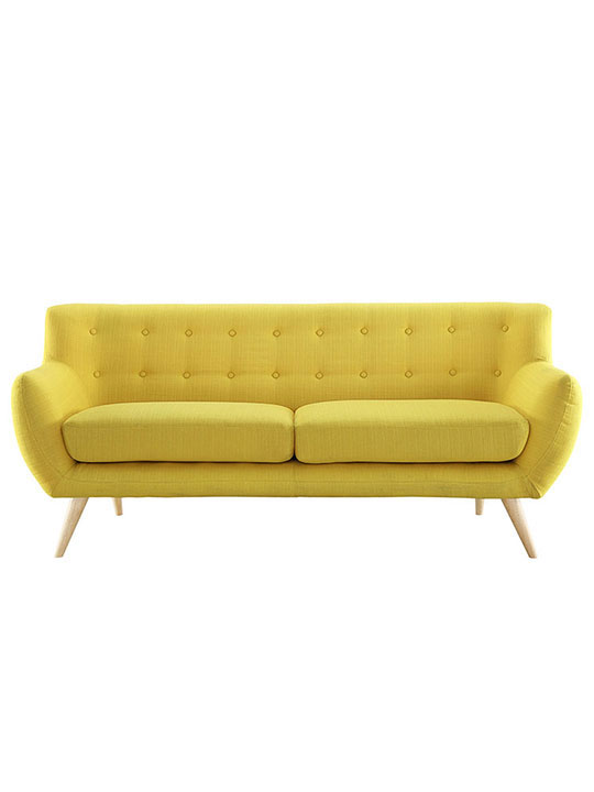 decade upholestered sofa yellow