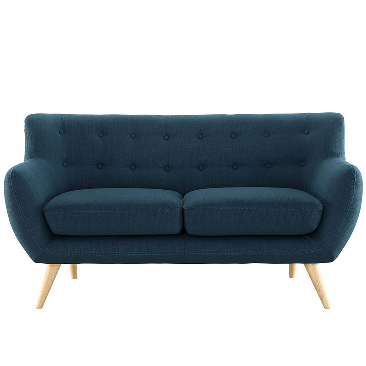decade upholstered loveseat dark blue 1