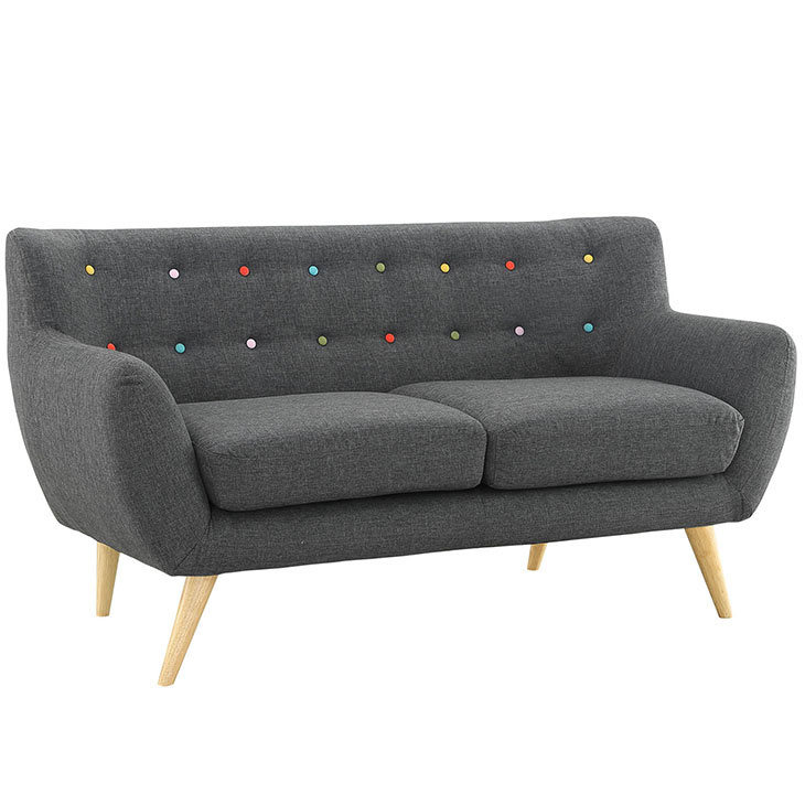 decade upholstered loveseat dark gray 1