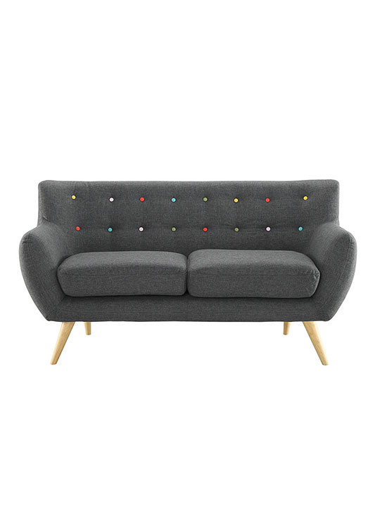 decade upholstered loveseat dark gray