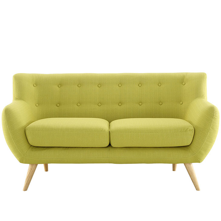 decade upholstered loveseat dark lime green 1
